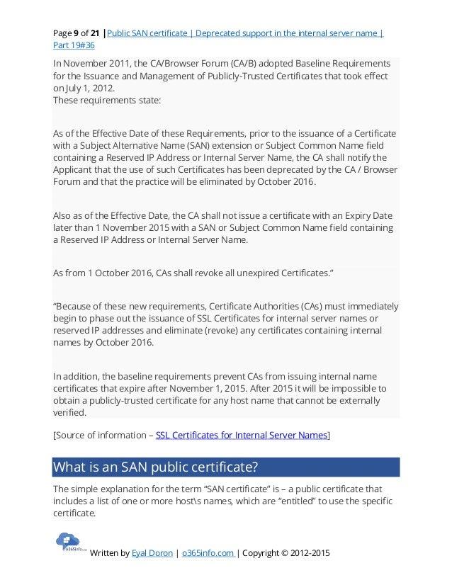 Public San Certificate Deprecated Support In The Internal Server Nam