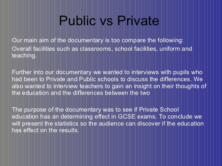 Compare and contrast essay on private school vs. public school