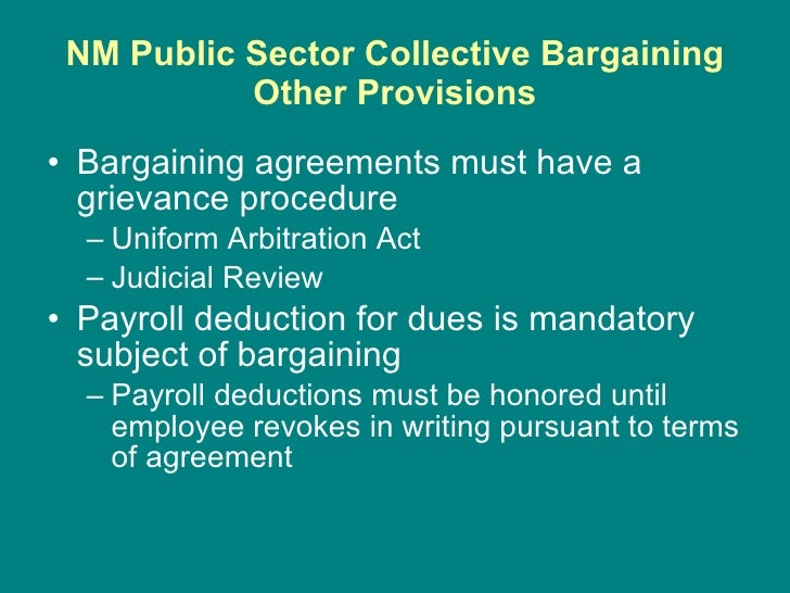 collective bargaining in the public sector Collective bargaining is different, the unions say supreme court case on public sector union fees rouses political suspicions jan 10, 2016.