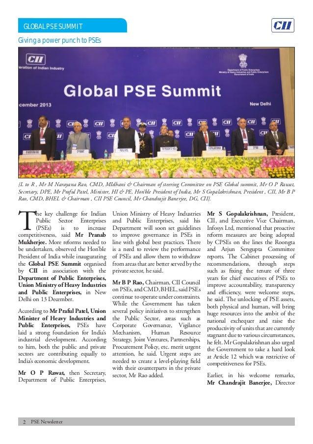 Public Sector Enterprises Newsletter, January 2014 Slide 2