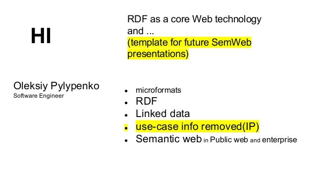 HI Oleksiy Pylypenko Software Engineer  RDF as a core Web technology and ... (template for future SemWeb presentations)  ●...
