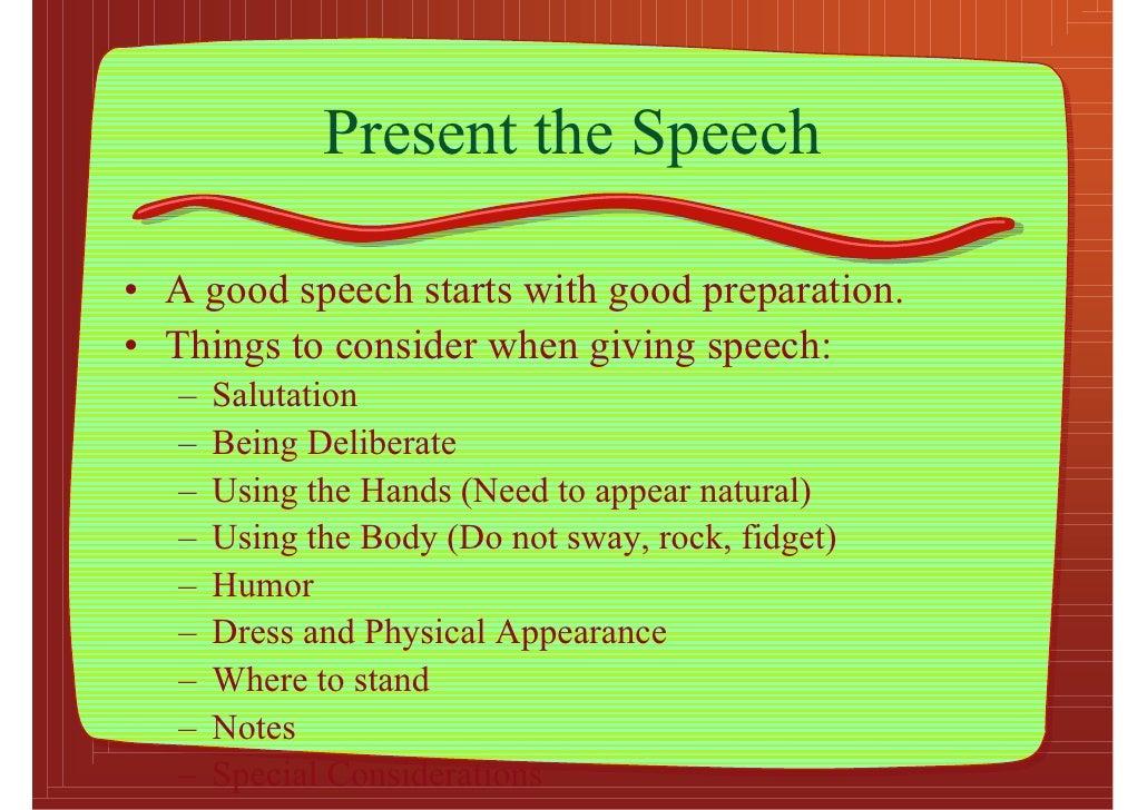 how to present a good speech