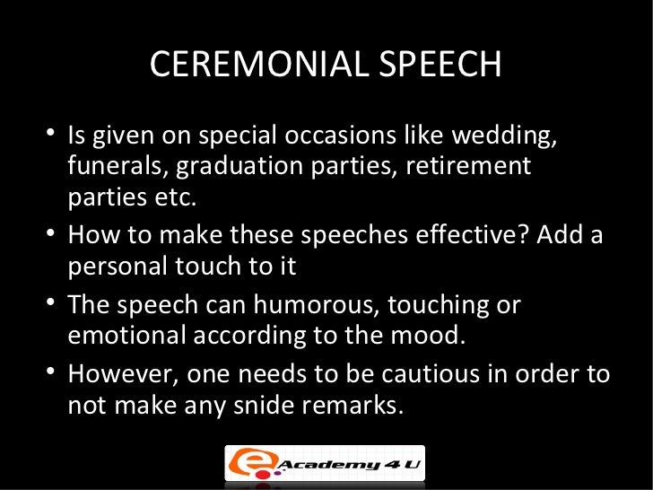"informative speech on funerals As comedian jerry seinfeld once said in a stand up routine ""that means, if you have to be at a funeral with an informative speech."