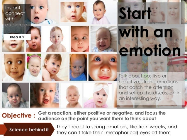 Instant connect with audience Start with an emotion Talk about positive or negative; strong emotions that catch the attent...