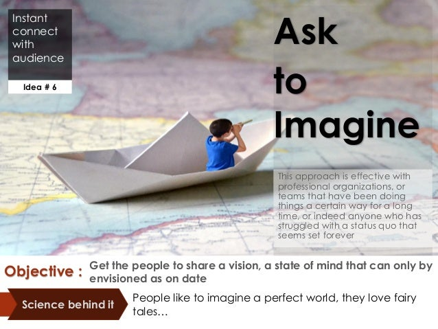 Instant connect with audience Ask to Imagine This approach is effective with professional organizations, or teams that hav...
