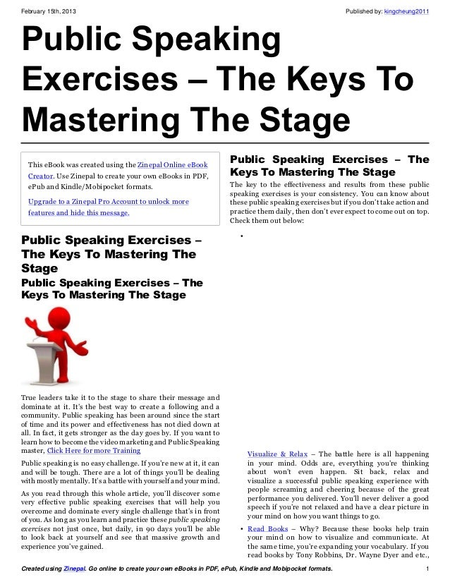 Public speaking exercises the keys to mastering the stage – Public Speaking Worksheets