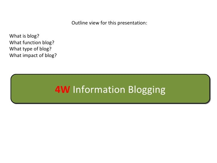 Outline view for this presentation: What is blog? What function blog? What type of blog? What impact of blog? 4W  Informat...