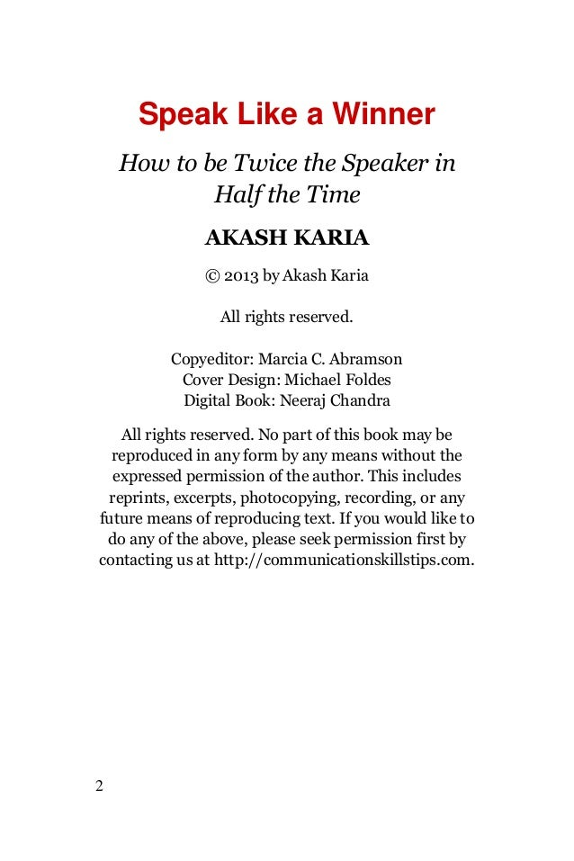 Public speaking techniques speak like a winner Slide 2
