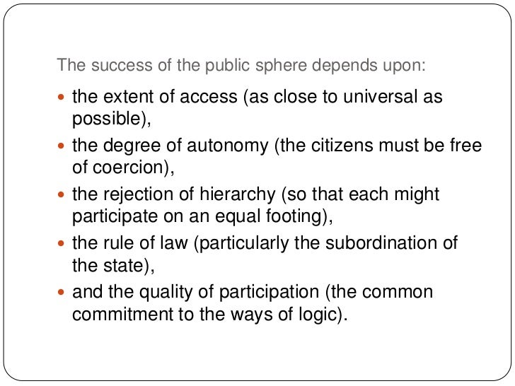 an analysis of habermas perspectives in the public sphere Behind habermas' analysis lies an oral bias: he believes the public sphere can be most effectively constituted and maintained through dialogue, acts of speech, through debate and discussion.