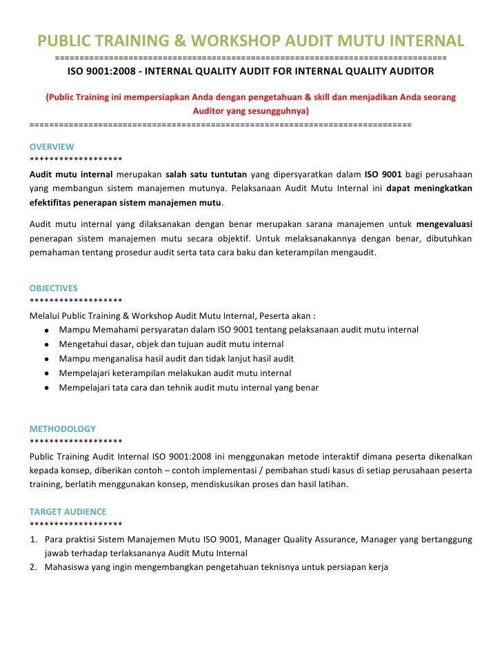 Public Training Internal Audit Iso 9001 Training Internal Audit Iso
