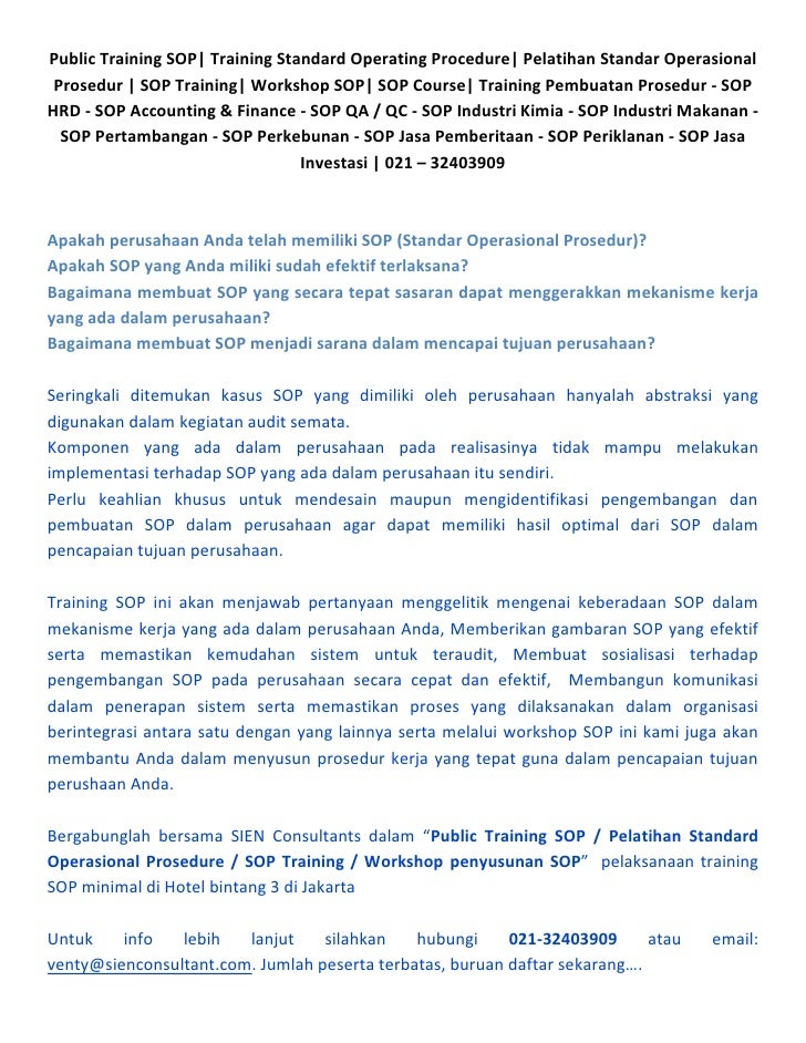 Public Training SOP| Training Standard Operating Procedure| Pelatihan Standar Operasional  Prosedur | SOP Training| Worksh...