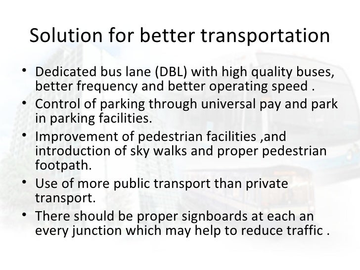 transport problems and solutions essay