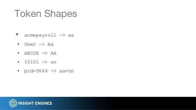 • acmepayroll -> aa • User -> Aa • ABCDE -> AA • 10101 -> nn • pid=9644 -> aa=nn Token Shapes