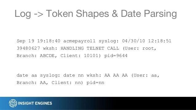 Log -> Token Shapes & Date Parsing date aa syslog: date nn wksh: AA AA AA (User: aa, Branch: AA, Client: nn) pid=nn Sep 19...