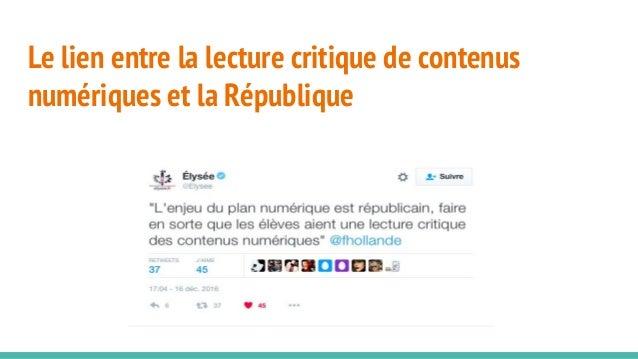 Le lien entre la lecture critique de contenus numériques et la République