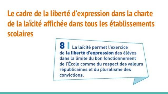 Le cadre de la liberté d'expression dans la charte de la laïcité affichée dans tous les établissements scolaires