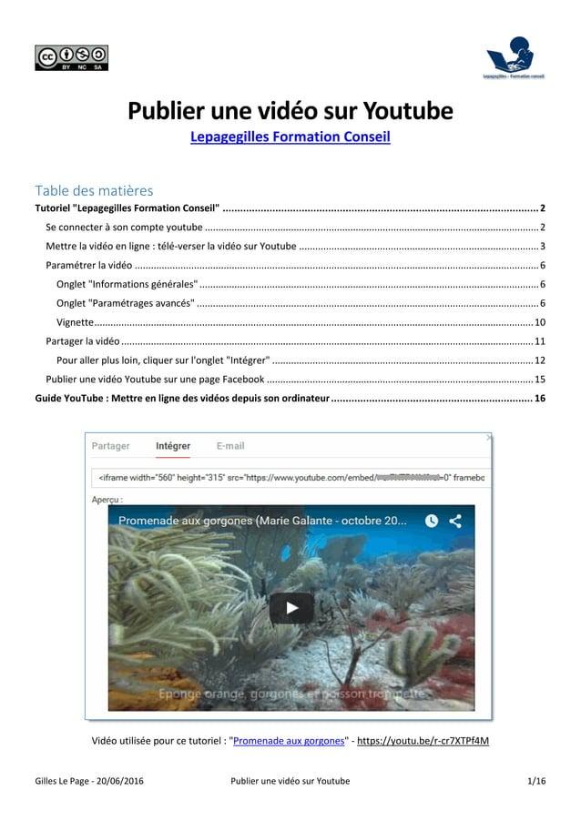Gilles Le Page - 20/06/2016 Publier une vidéo sur Youtube 1/16 Publier une vidéo sur Youtube Lepagegilles Formation Consei...
