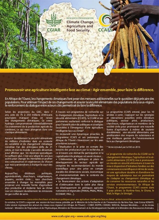 Promouvoir une agriculture intelligente face au climat : Agir ensemble, pour faire la différence.En Afrique de l'Ouest, le...
