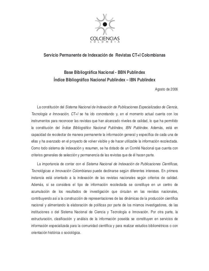 Servicio Permanente de Indexación de Revistas CT+I Colombianas                       Base Bibliográfica Nacional - BBN Pub...