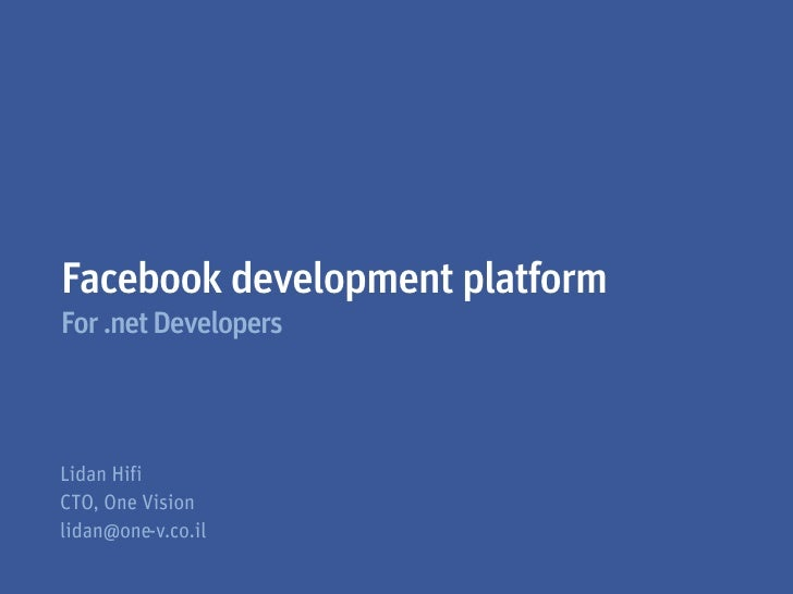 Facebook development platformFor .net Developers