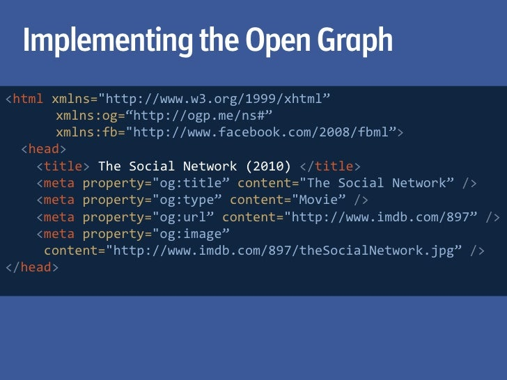 """Implementing the Open Graph>html xmlns=""""http://www.w3.org/1999/xhtml"""">      xmlns=""""http://www.w3.org/1999/xhtml""""  <head>  ..."""