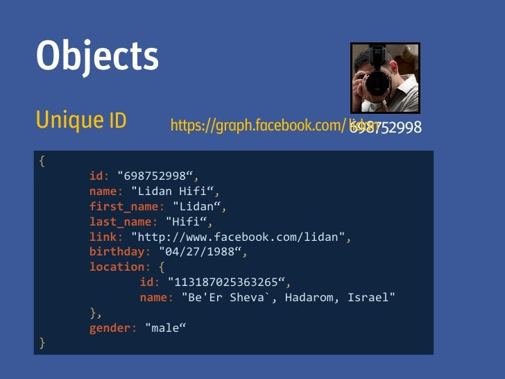 AuthenticationOAuth 2.0-based authentication        https://graph.facebook.com/me?access_token=2227470867|2.v        UgGGA...