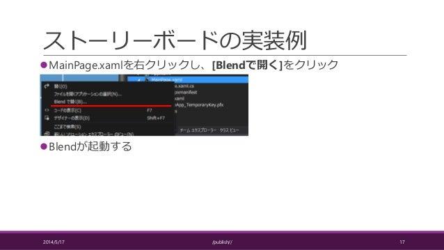 ストーリーボードの実装例 MainPage.xamlを右クリックし、[Blendで開く]をクリック Blendが起動する 2014/5/17 /publish// 17