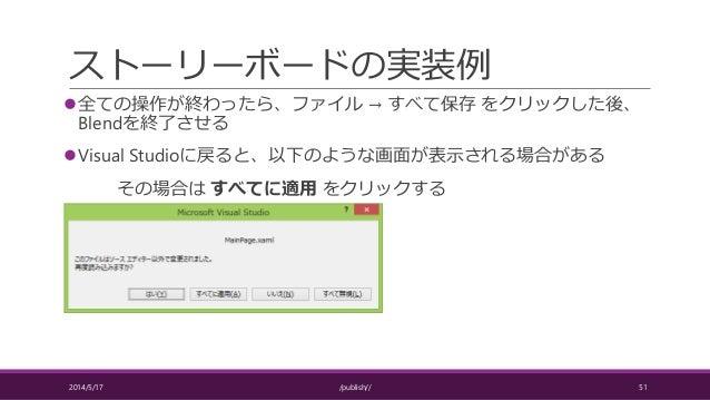 ストーリーボードの実装例 全ての操作が終わったら、ファイル → すべて保存 をクリックした後、 Blendを終了させる Visual Studioに戻ると、以下のような画面が表示される場合がある その場合は すべてに適用 をクリックする 2...