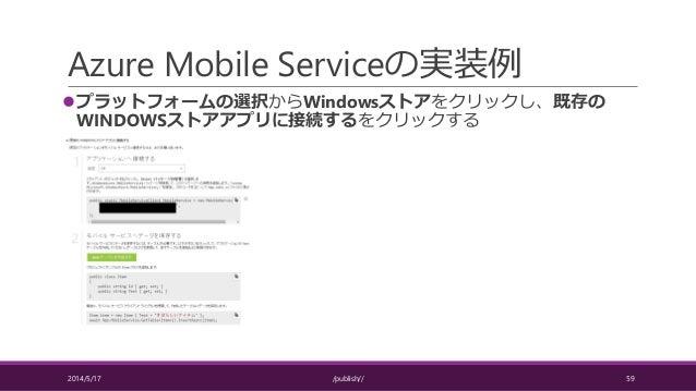 Azure Mobile Serviceの実装例 プラットフォームの選択からWindowsストアをクリックし、既存の WINDOWSストアアプリに接続するをクリックする 2014/5/17 /publish// 59