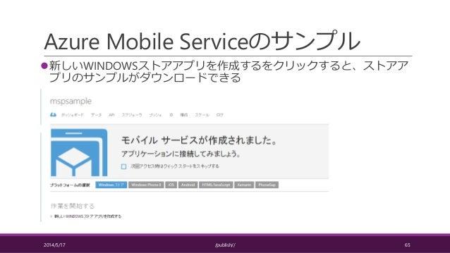 Azure Mobile Serviceのサンプル 新しいWINDOWSストアアプリを作成するをクリックすると、ストアア プリのサンプルがダウンロードできる 2014/5/17 /publish// 65
