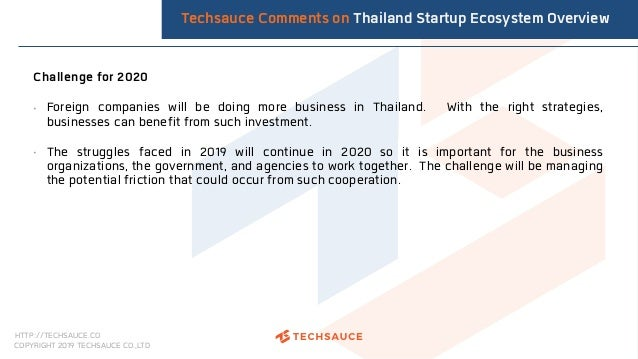 HTTP://TECHSAUCE.CO COPYRIGHT 2019 TECHSAUCE CO.,LTD Challenge for 2020 • Foreign companies will be doing more business in...