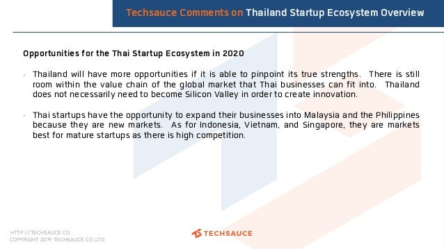 HTTP://TECHSAUCE.CO COPYRIGHT 2019 TECHSAUCE CO.,LTD Opportunities for the Thai Startup Ecosystem in 2020 • Thailand will ...