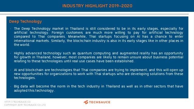 HTTP://TECHSAUCE.CO COPYRIGHT 2019 TECHSAUCE CO.,LTD INDUSTRY HIGHLIGHT 2019-2020 Deep Technology • The Deep Technology ma...