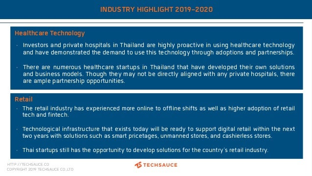 HTTP://TECHSAUCE.CO COPYRIGHT 2019 TECHSAUCE CO.,LTD INDUSTRY HIGHLIGHT 2019-2020 Healthcare Technology • Investors and pr...