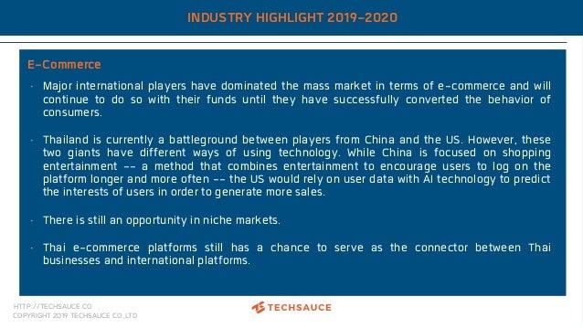 HTTP://TECHSAUCE.CO COPYRIGHT 2019 TECHSAUCE CO.,LTD INDUSTRY HIGHLIGHT 2019-2020 E-Commerce • Major international players...