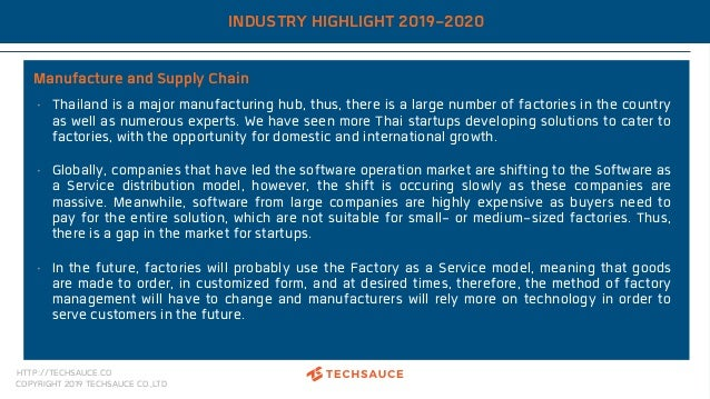 HTTP://TECHSAUCE.CO COPYRIGHT 2019 TECHSAUCE CO.,LTD INDUSTRY HIGHLIGHT 2019-2020 Manufacture and Supply Chain • Thailand ...
