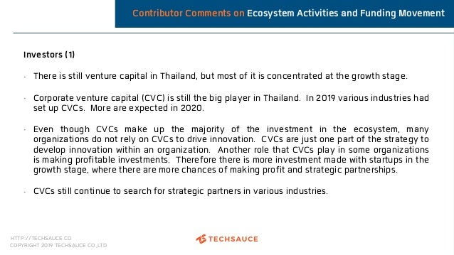 HTTP://TECHSAUCE.CO COPYRIGHT 2019 TECHSAUCE CO.,LTD Contributor Comments on Ecosystem Activities and Funding Movement Inv...