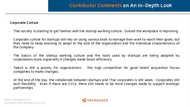HTTP://TECHSAUCE.CO COPYRIGHT 2019 TECHSAUCE CO.,LTD Contributor Comments on An In-Depth Look Corporate Culture • Thai soc...