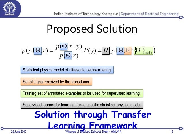 Proposed Solution Statistical physics model of ultrasonic backscattering Set of signal received by the transducer Training...