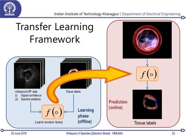 Transfer Learning Framework 23 Ultrasound RF data (i) Signal confidence (ii) Speckle statistics Tissue labels  f Learnt...
