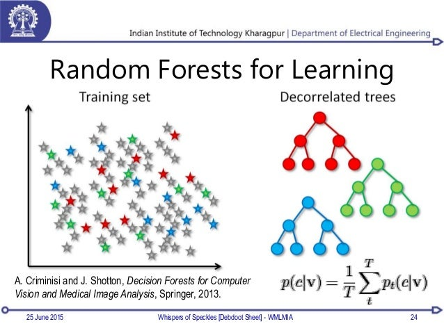 Random Forests for Learning 25 June 2015 24Whispers of Speckles [Debdoot Sheet] - WMLMIA A. Criminisi and J. Shotton, Deci...