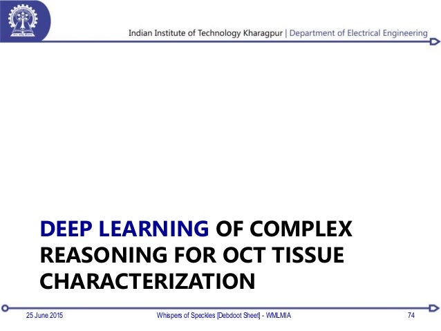 DEEP LEARNING OF COMPLEX REASONING FOR OCT TISSUE CHARACTERIZATION 25 June 2015 Whispers of Speckles [Debdoot Sheet] - WML...