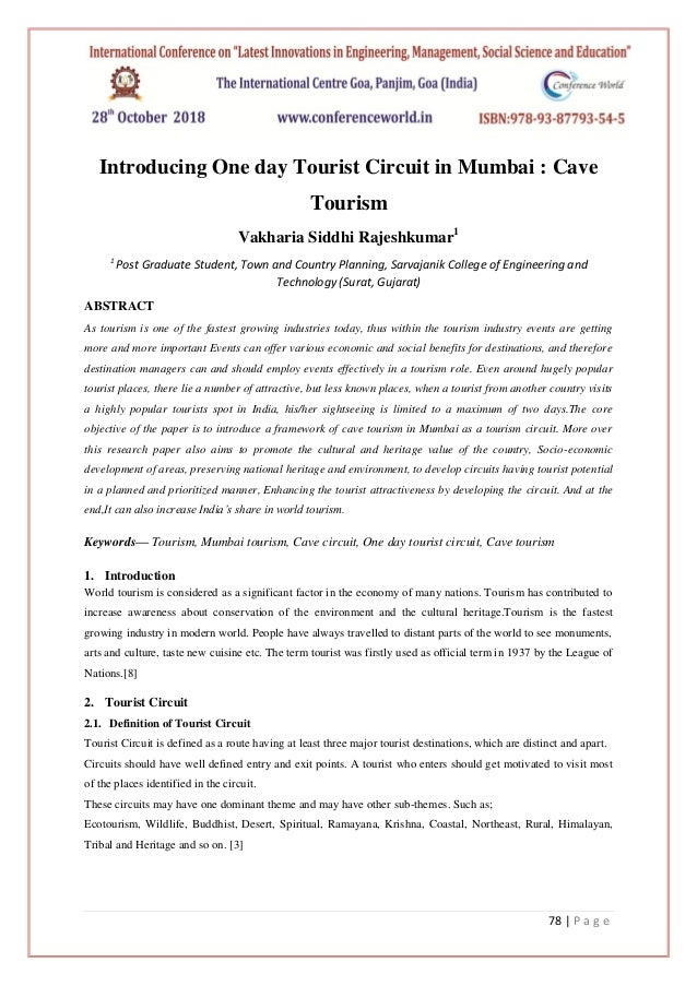 Research paper - Introducing One day Tourist Circuit in Mumbai : Cave…