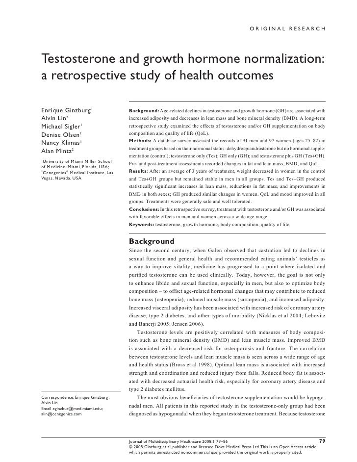 ORIGINAL RESEARCH     Testosterone and growth hormone normalization: a retrospective study of health outcomes  Enrique Gin...