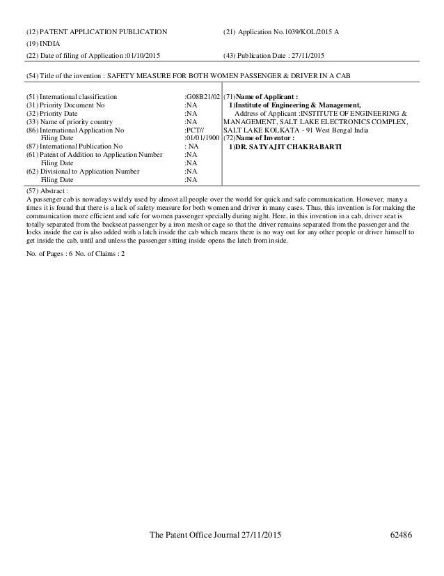 Published Patent And Design Registration Information November 27th