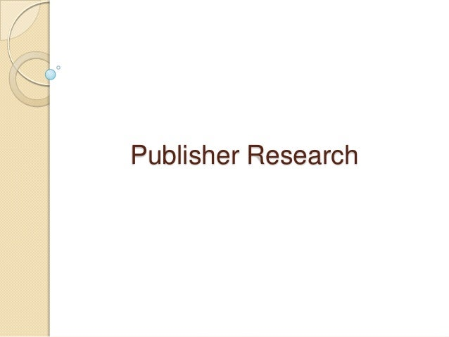 Publisher Research