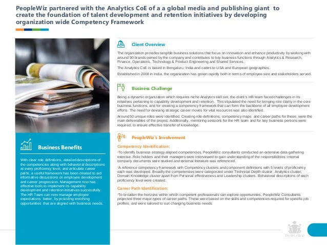 PeopleWiz partnered with the Analytics CoE of a a global media and publishing giant to create the foundation of talent dev...