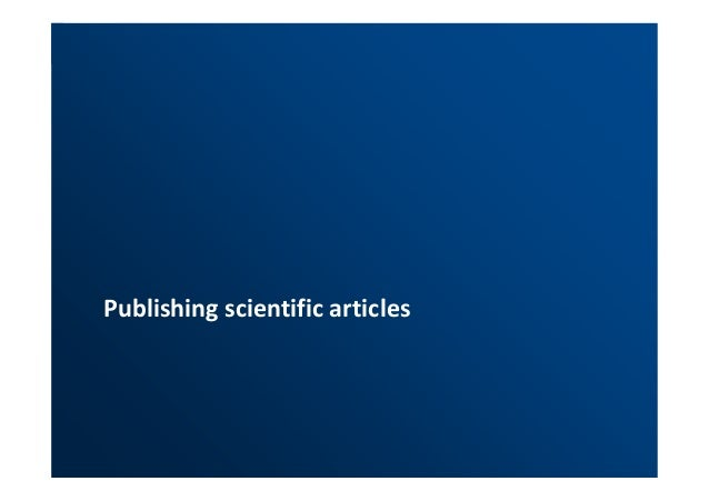 Publishing scientific articles