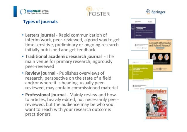 Types of journals  • Letters journal - Rapid communication of  interim work, peer-reviewed, a good way to get  time sensit...