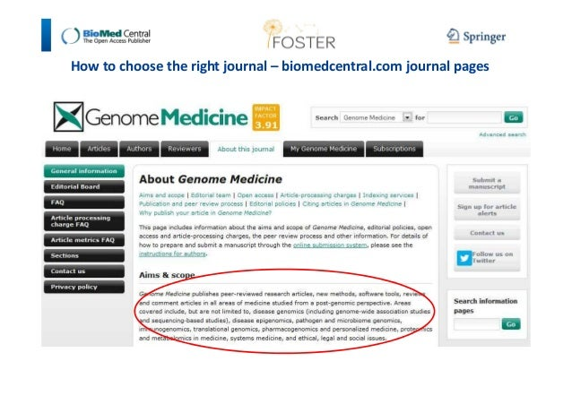 How to choose the right journal – biomedcentral.com journal pages